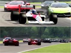セナやプロストが乗ったF1マクラーレン MP4がスーパーカーとサーキットを走る!