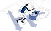 大抵のハイルーフミニバンは、クルマから降りなくても1列目から3列目まで移動することができる。