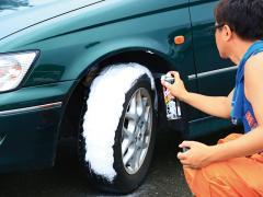 禁断のクルマ実験室 タイヤワックスをトレッド全体に塗る