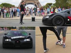 パリを舞台にブガッティ ヴェイロンがフリースタイルフットボーラーと対決!