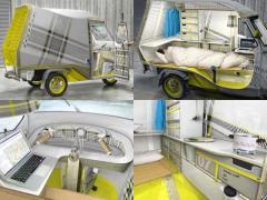 イタリアの商用3輪車キャンパーが見せる究極のスペース効率!