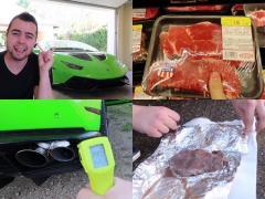 ランボルギーニ ウラカンで、走りながらステーキを焼いてみた!