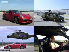 ポルシェ911ターボSが戦闘ヘリとドラッグレース!