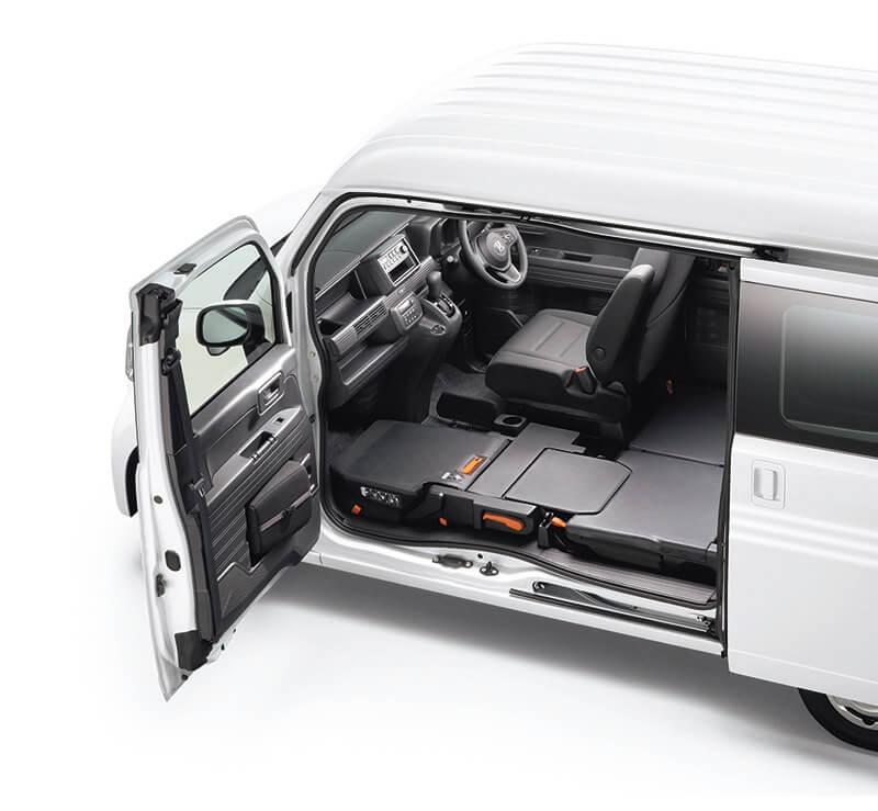 新型N-VANの助手席を畳んだフラットな荷室の画像