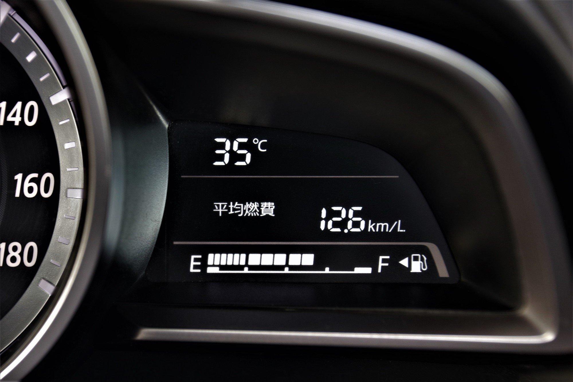クルマのメータ上の燃費表示の画像