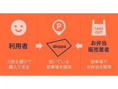 駐車場予約アプリ「akippa」の駐車場をお弁当販売所として有効活用