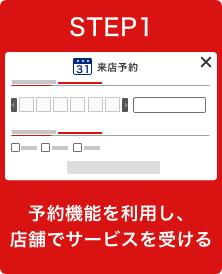 STEP1 予約機能を利用し、店舗でサービスを受ける