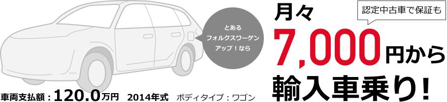 月々7,000円から輸入車乗り!