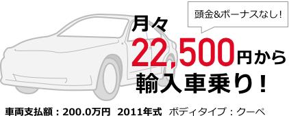 月々22,500円から輸入車乗り!